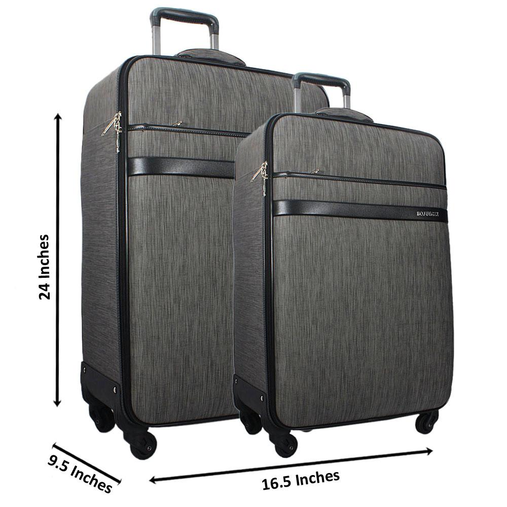 Grey 24 Inch Wt 20 Inch 2 in 1 Leather Luggage Set