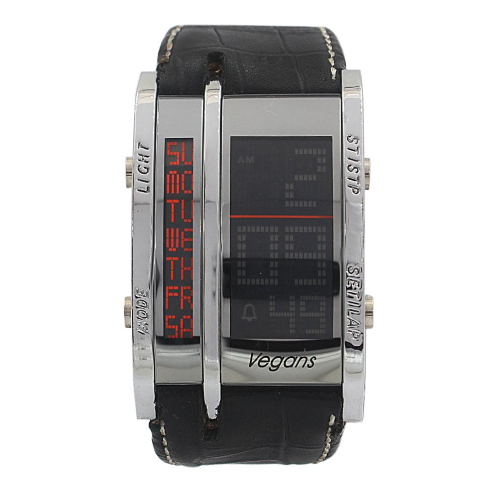 Vegans Black Leather Square 5 ATM Water Resistant Analog Digital Watch
