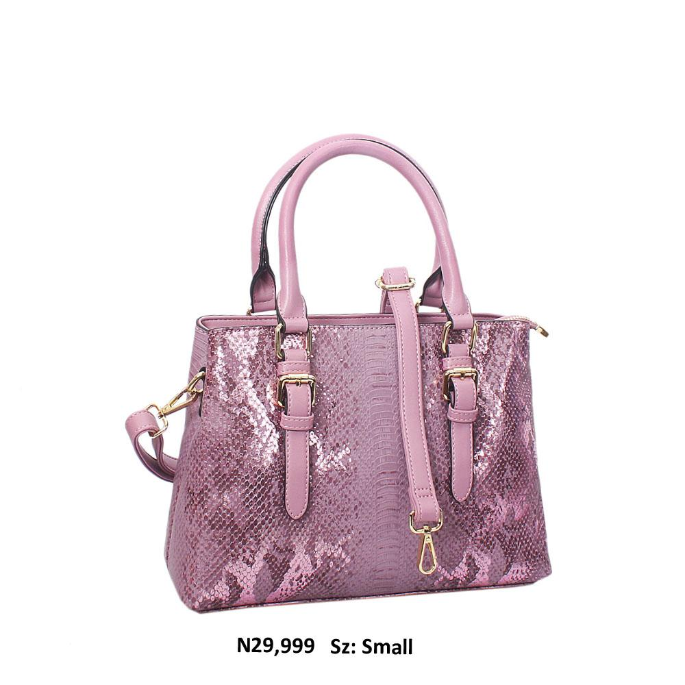 Lilac Paola Snakeskin Style Leather Tote Handbag
