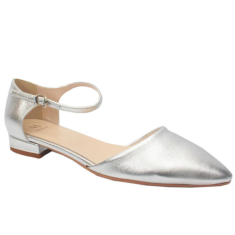 Silver Leather Pointed Toe Flat Shoe