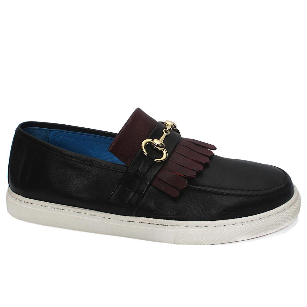 Black Wine Fringe Leather Slipon Loafers