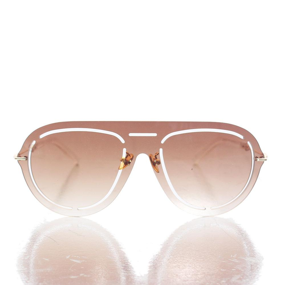 Gold Brown Shield Lens Sunglasses