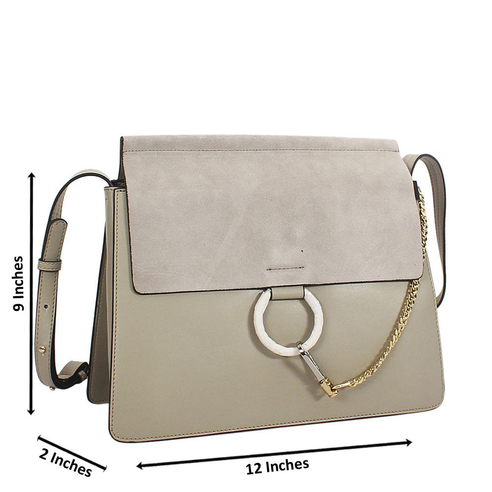Gray Lauretta Suede Leather Crossbody Handbag