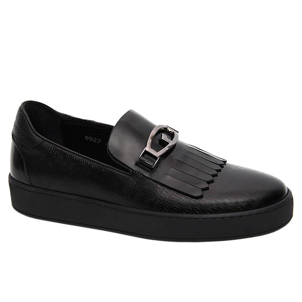 Black Morgan Italian Leather Fringe Slip-On Sneakers