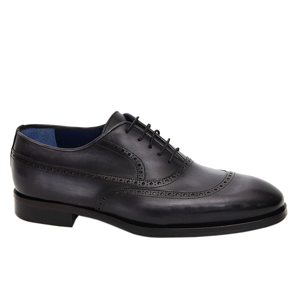 Gray Black Hand Painted Italian Leather Brogue Oxford Shoe