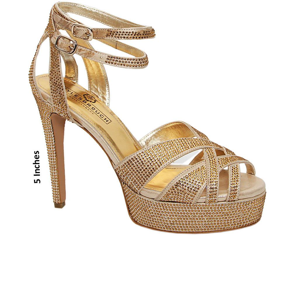 Gold Carolina Studded Italian Leather Platform Sandals