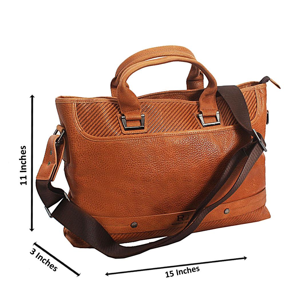 Brown Rorock Jeans Top Grain Leather Tote Man Bag
