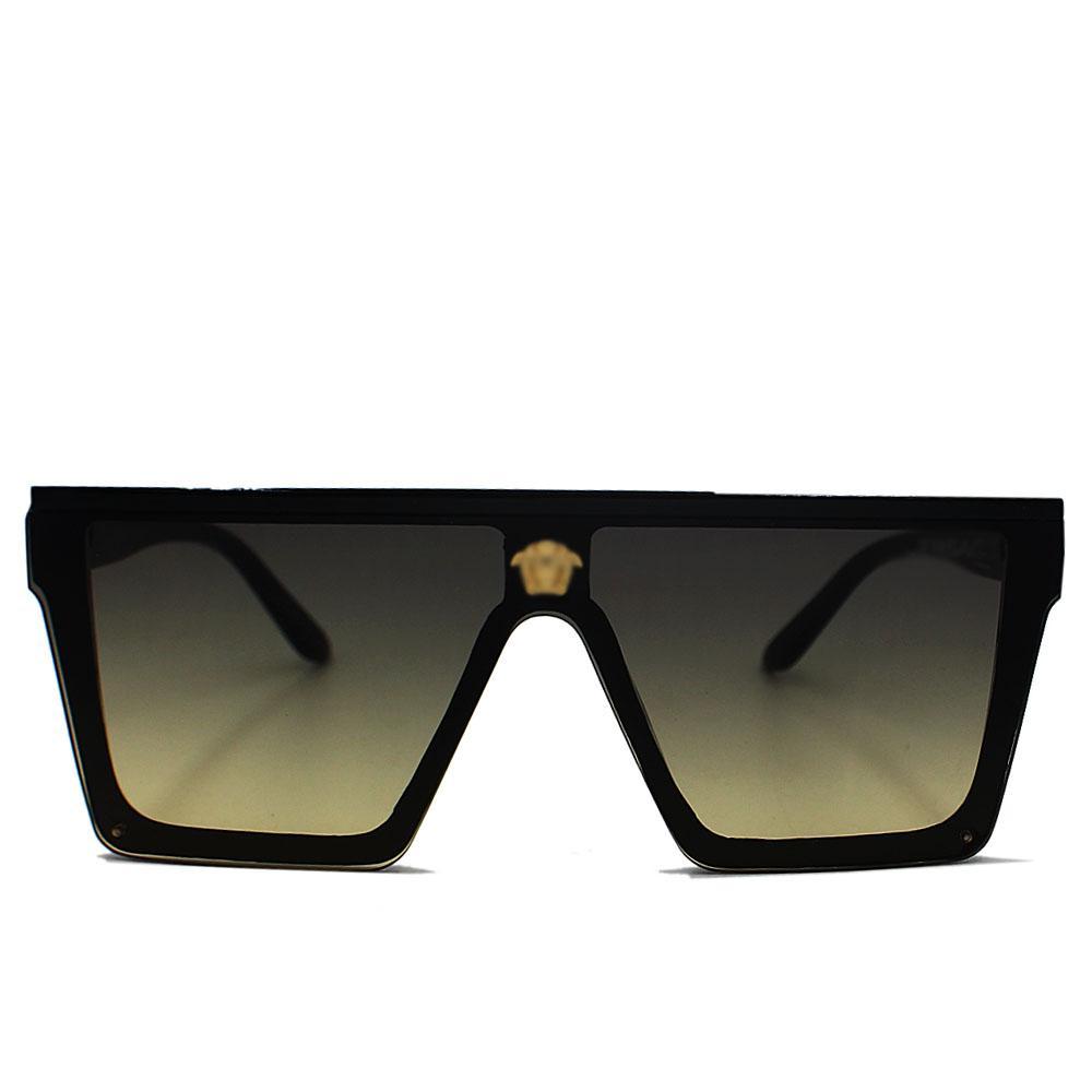 Black WoOversize Rimless Shield Sunglasses