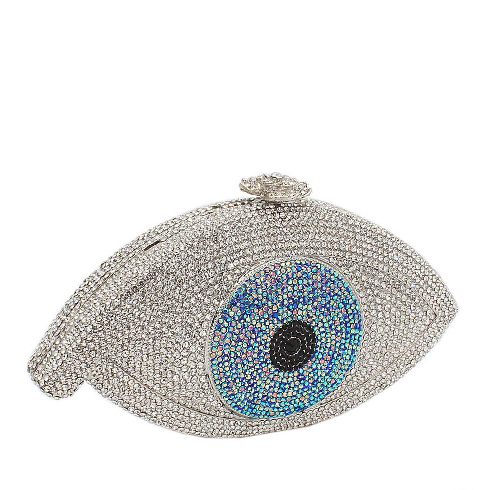Silver Blue Eye Ball Crystals Clutch Purse