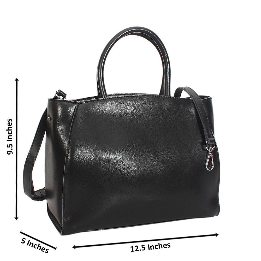 Black Vero Leather Tote Handbag