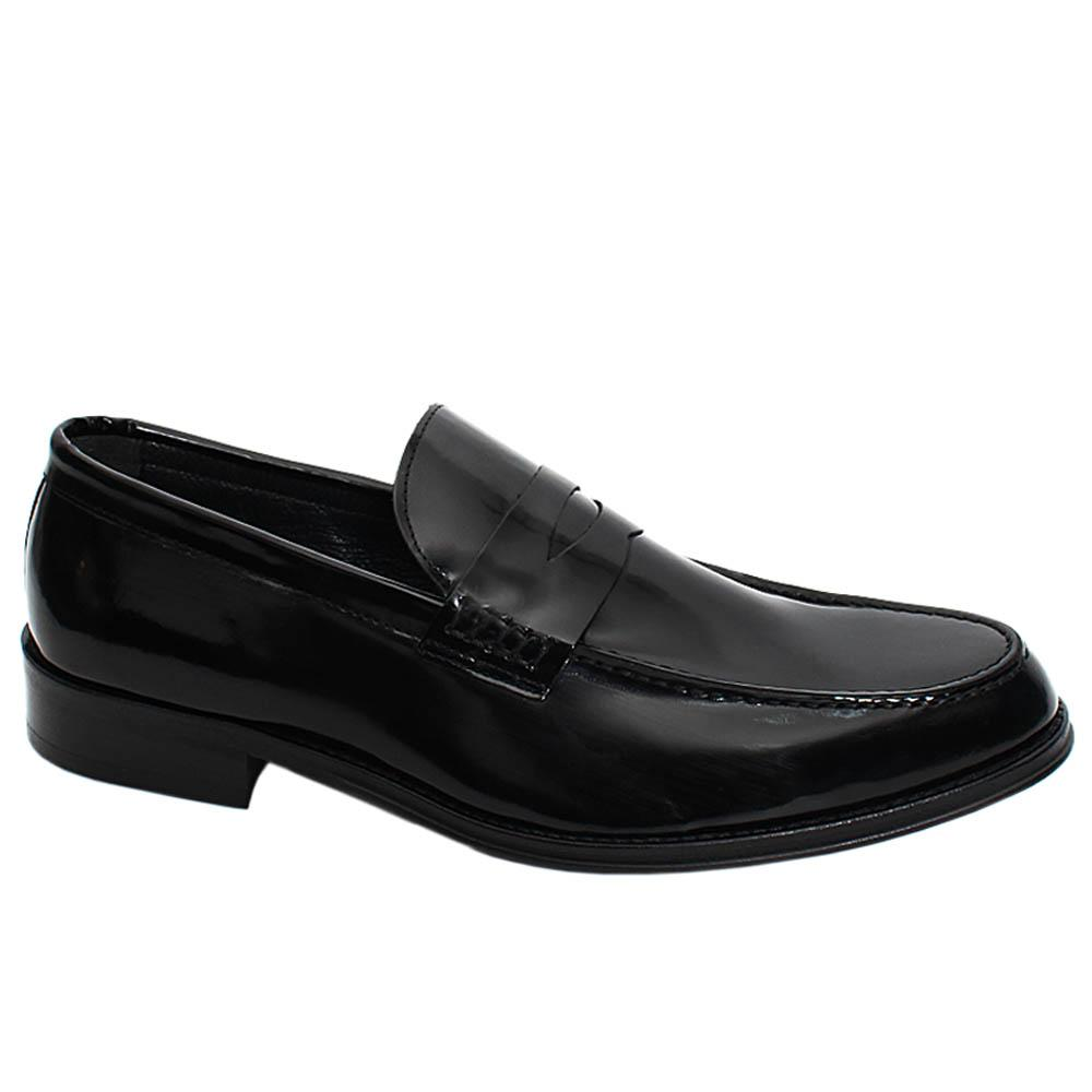 Black Wesley Patent Leather Men Penny Loafers