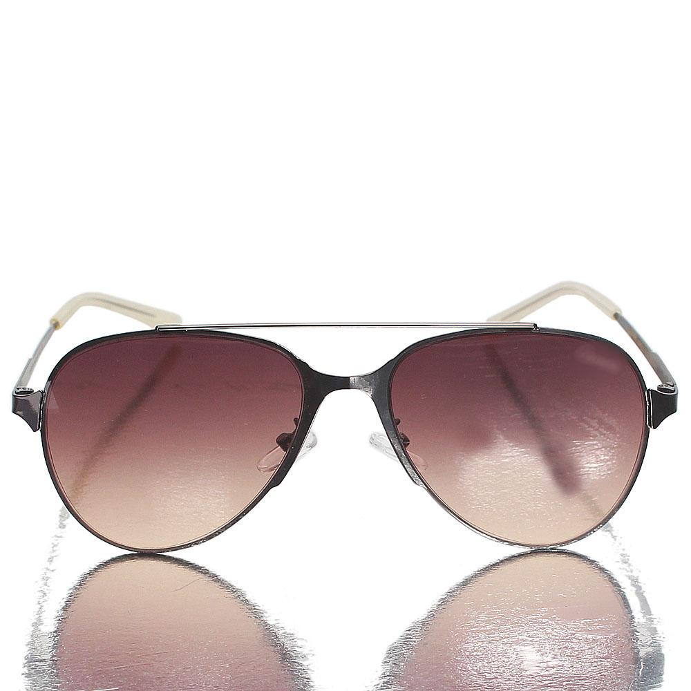Metallic Gray Aviator Brown Lens Sunglasses