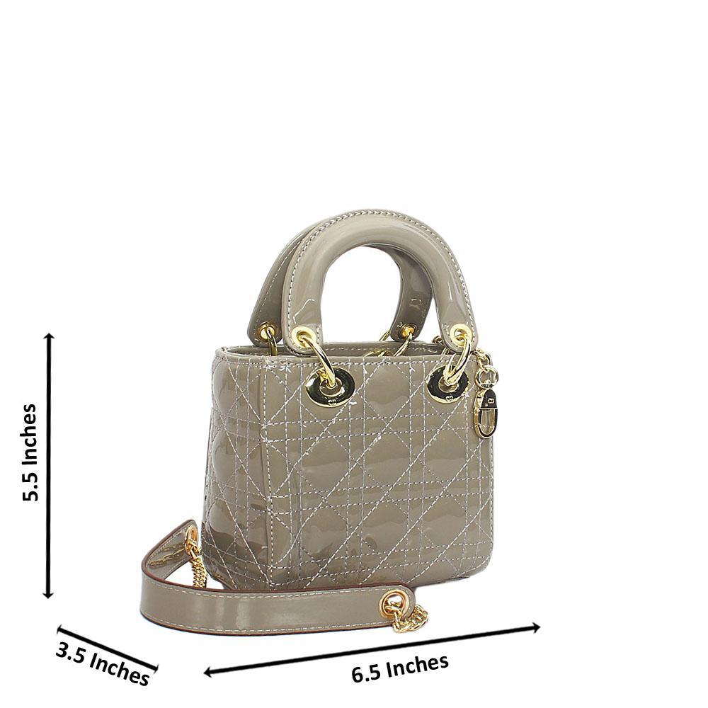 Gray Floxy Patent Leather Mini Tote Handbag
