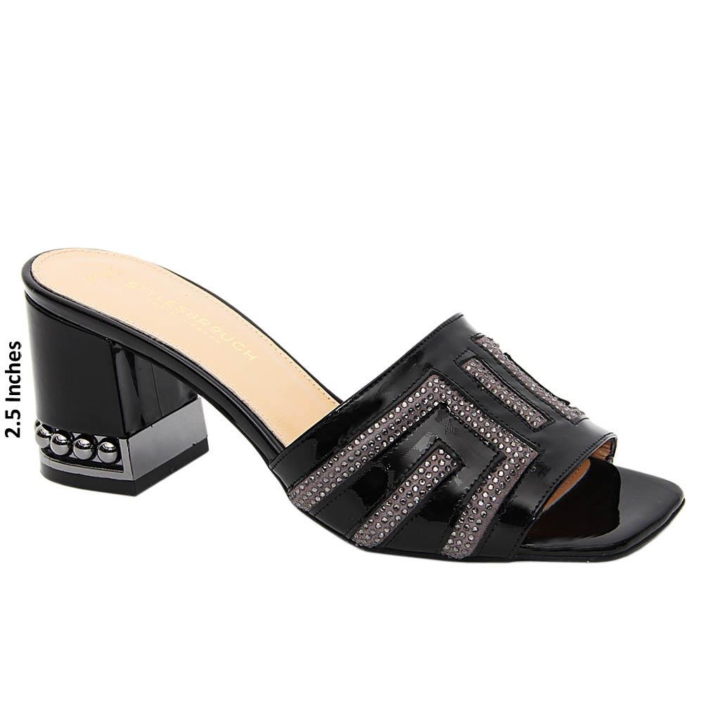 Black Royale Studded Patent Tuscany Leather Mid Heel Mule