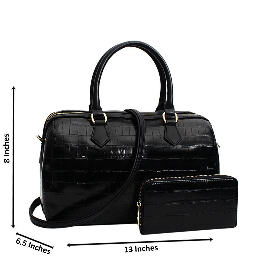 Black Elisa Croc Leather Medium Boston Handbag
