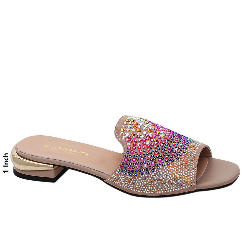 Beige Marissa Studded Tuscany Leather Low Heel Slippers