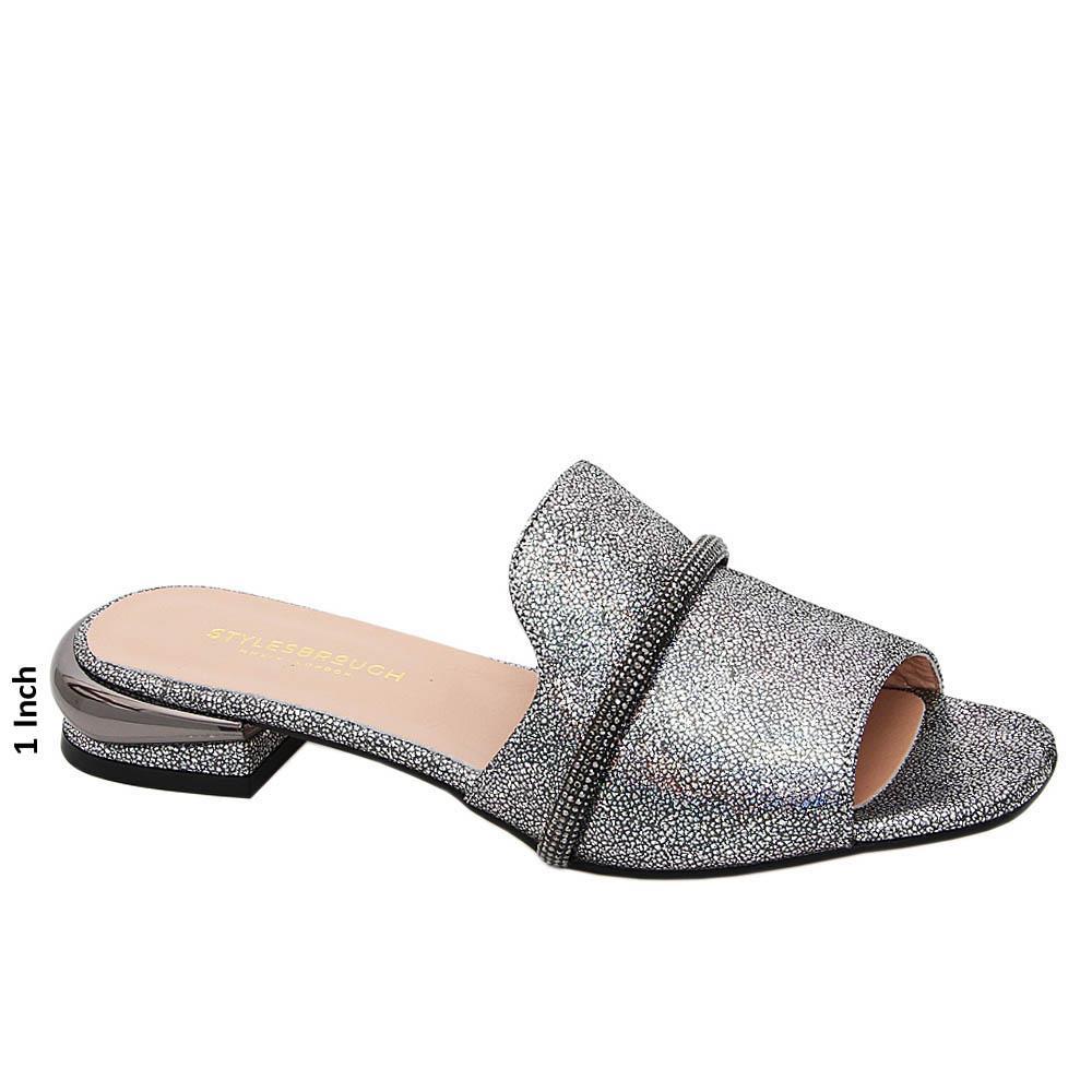 Metallic Gray Kimberly Studded Tuscany Leather Low Heel Slippers