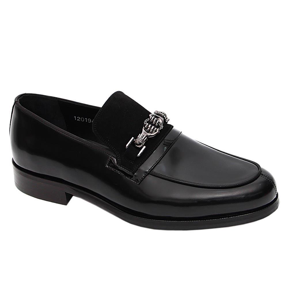 Black Geovanne Italian Leather Loafers