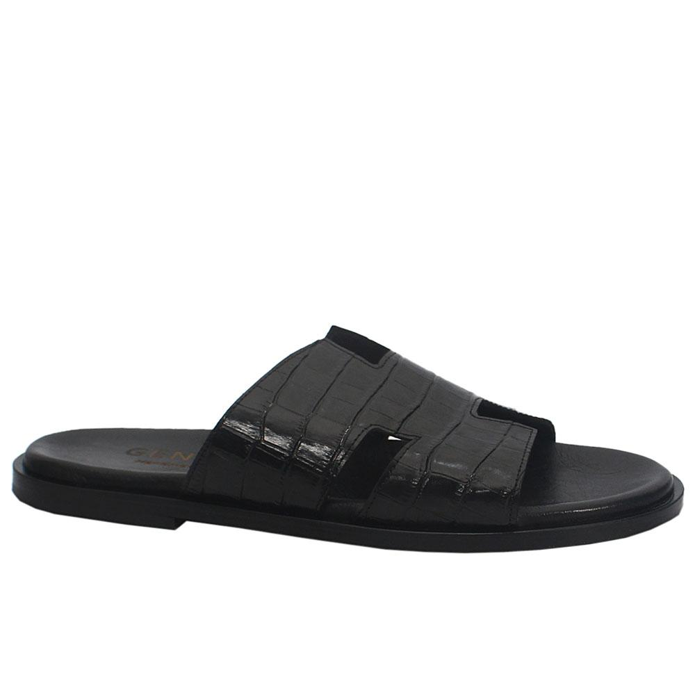 Gen Black Roda Croco Leather Upper and Sole Men Slippers