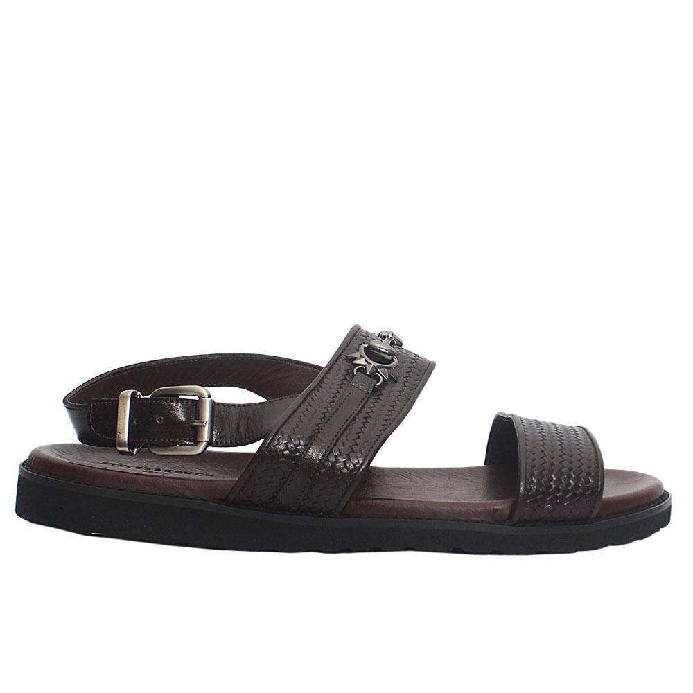 Brown Woven Italian Leather Men Sandals