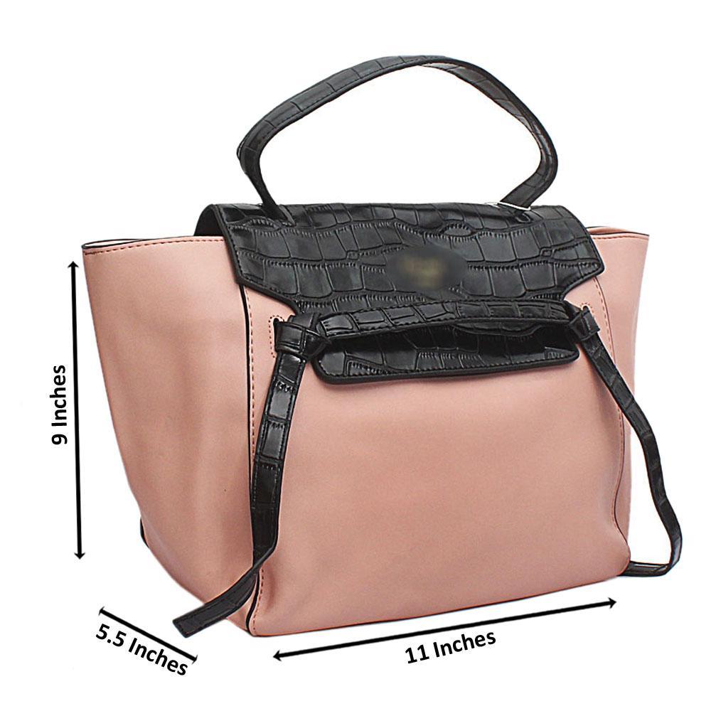 6c2c95772571 Croc Black Peach Leather Medium Belt Top Handle Handbag