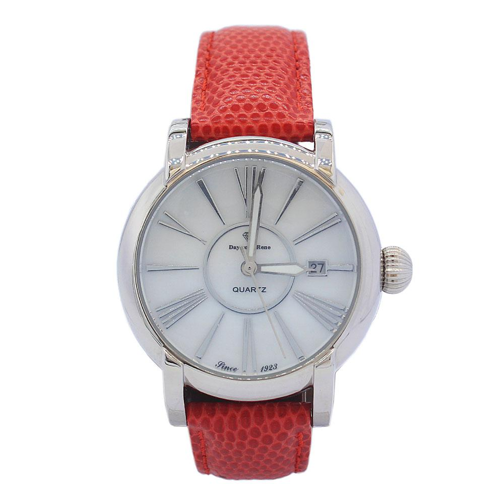 DR 3ATM Silver Red Classic Leather Ladies Watch