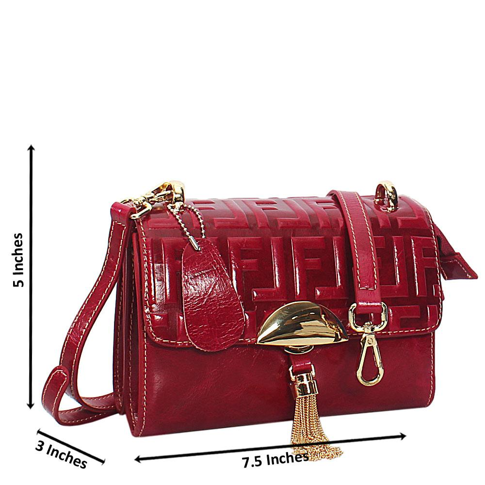 Zelda Ruby Pink Embossed Shining Montana Leather Crossbody Handbag