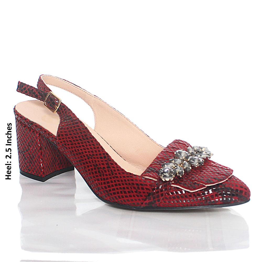Wine Ashford Crystals Italian Leather Slingback Heel
