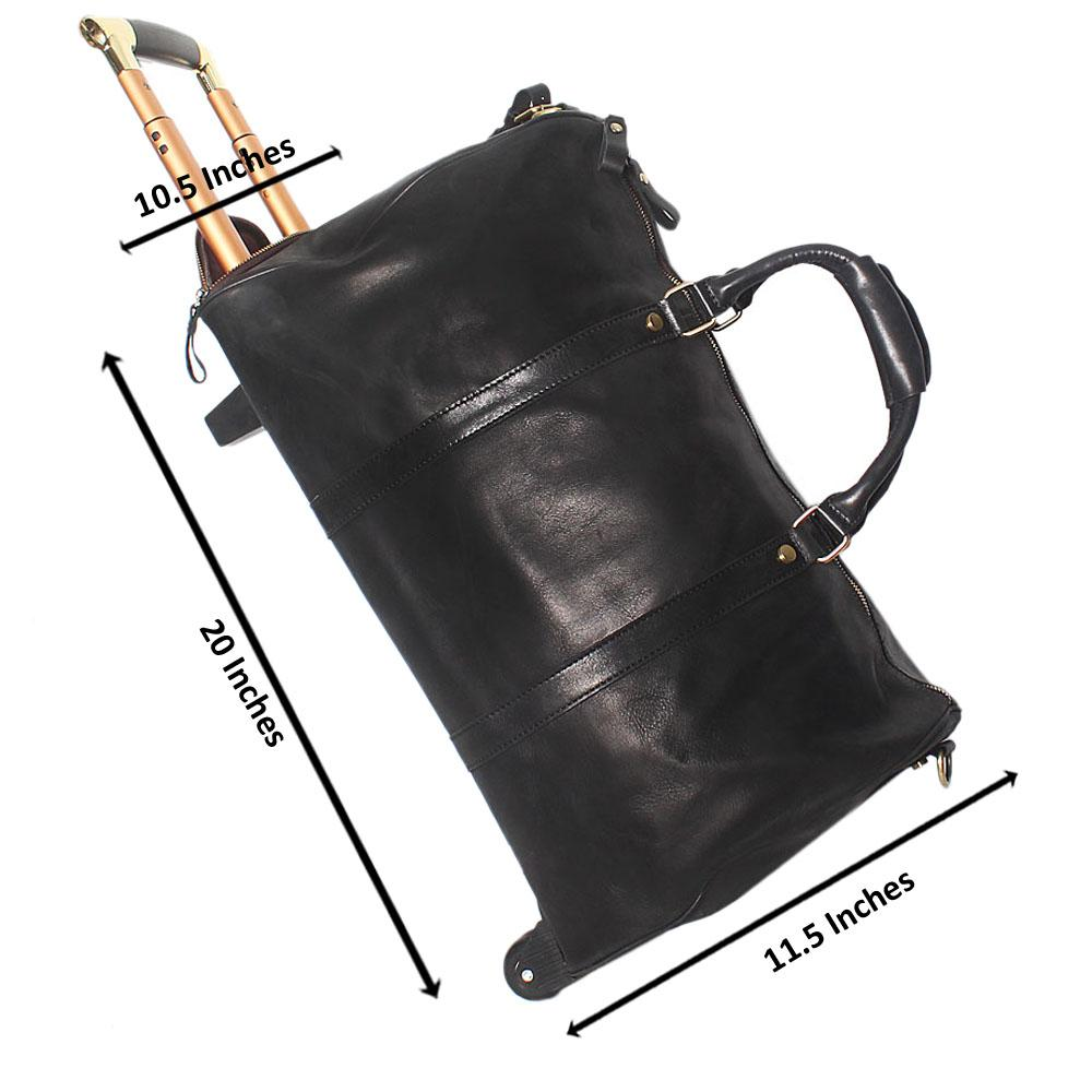 Black Soft Cowhide Leather Trolley Duffel Bag