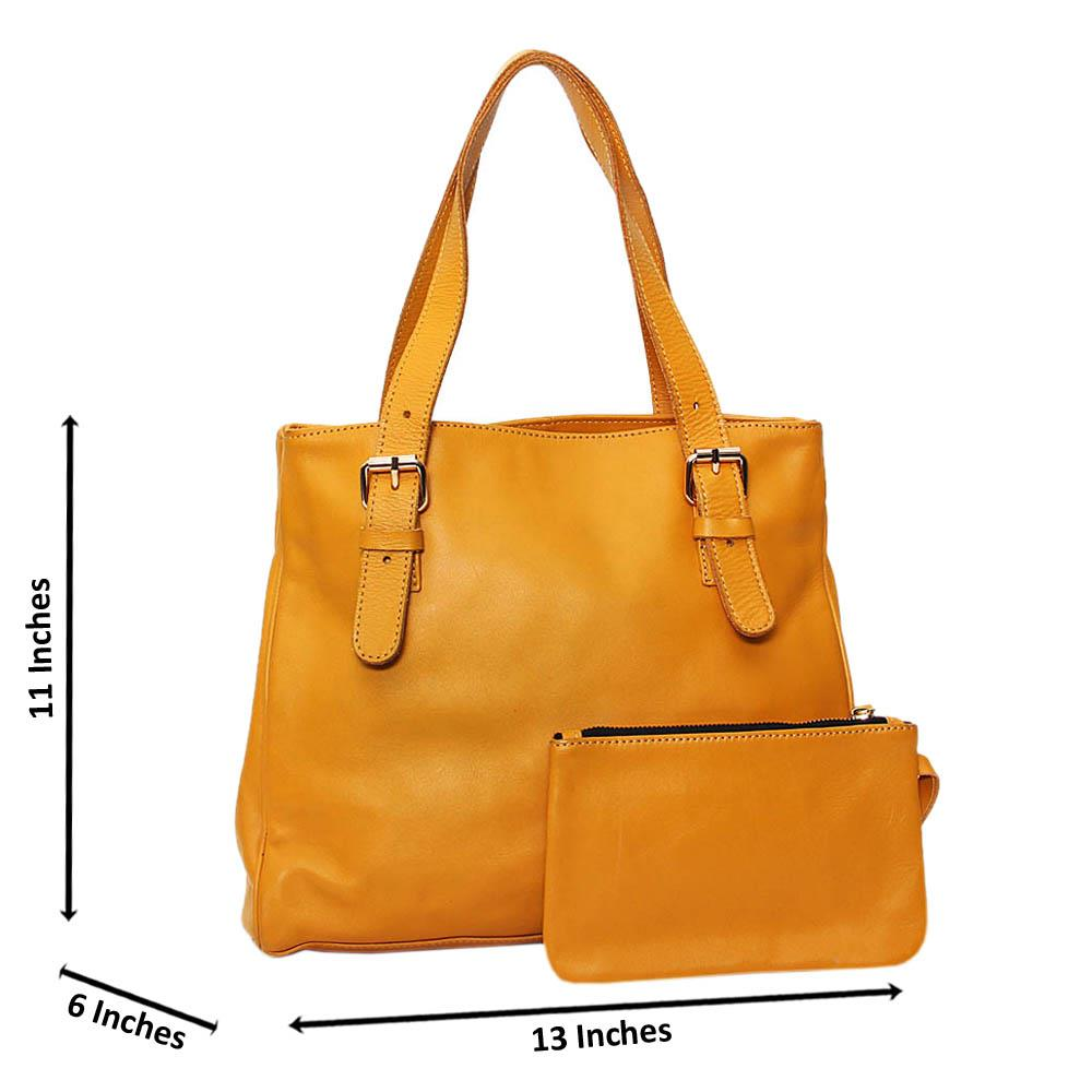 Mustard Yellow Casiana Cowhide Leather Tote Handbag