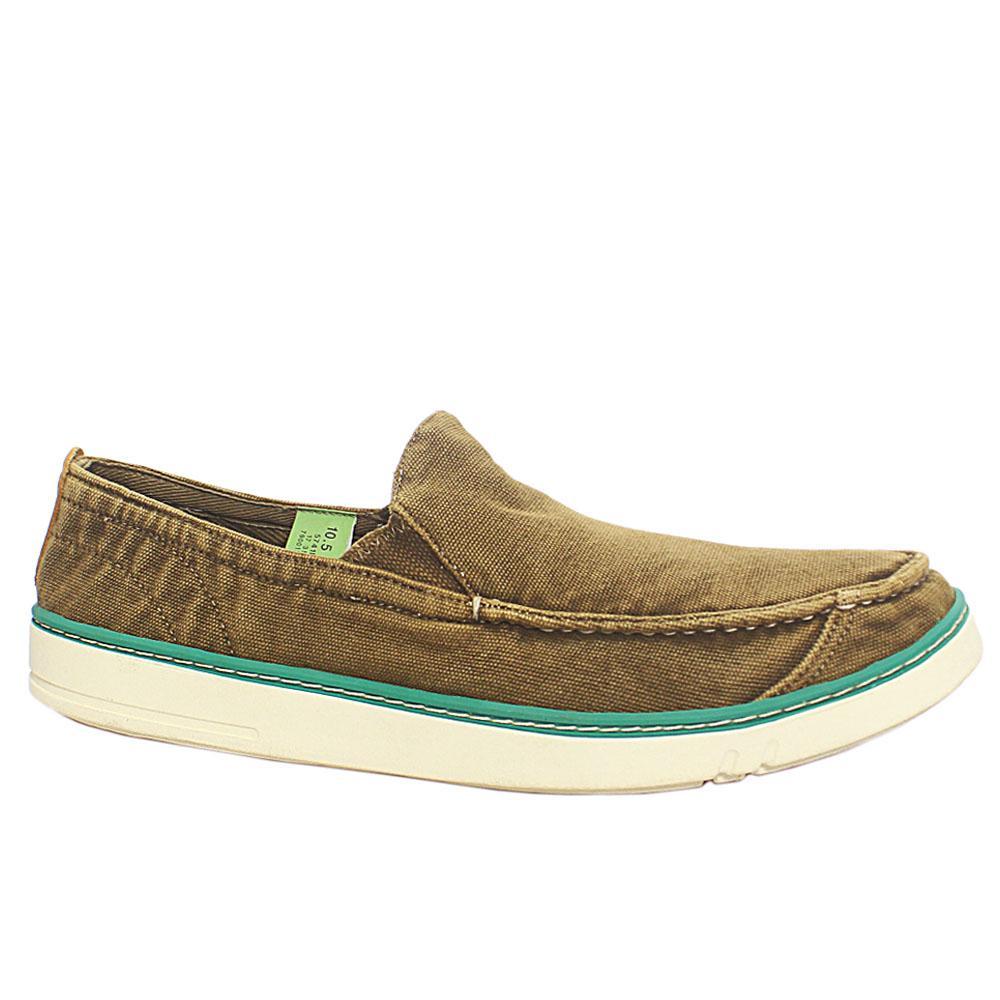 Brown White Slip On Men Sneakers