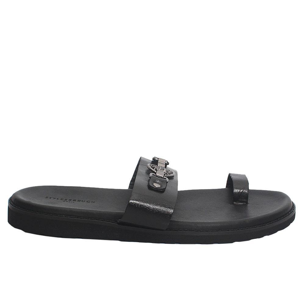 Black-Spiro-Bee-Italian-Leather-Men-Slippers