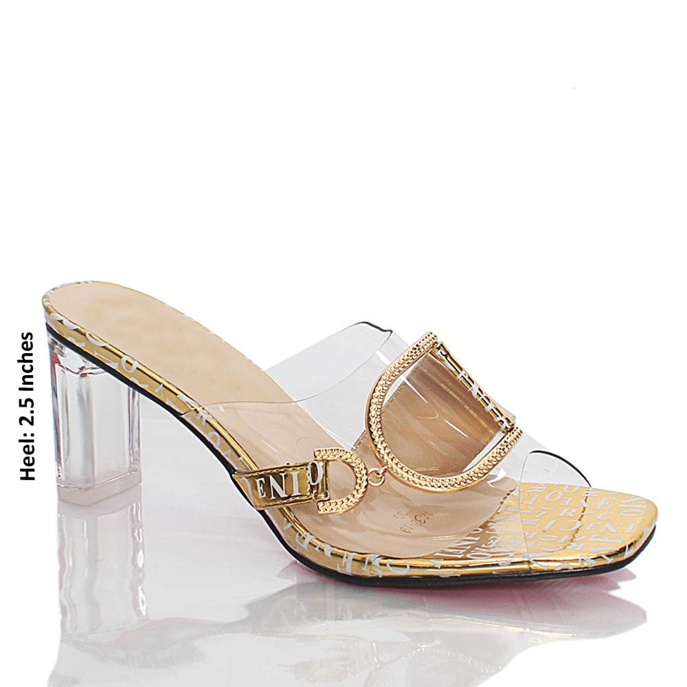 Gold Vicky Text Print Transparent Rubber Leather Mules