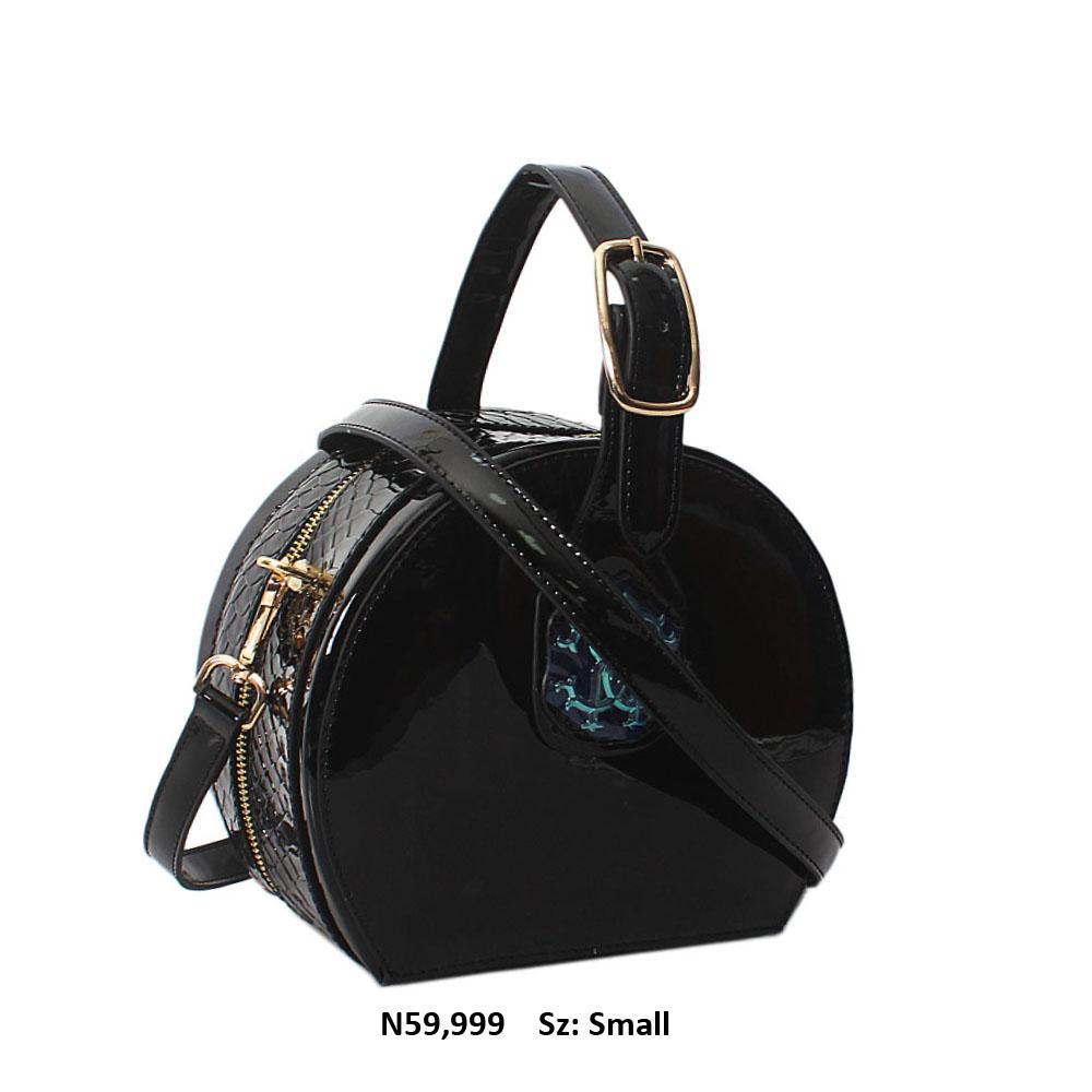 Black Croc Patent Cowhide Leather Round Top Handle Handbag