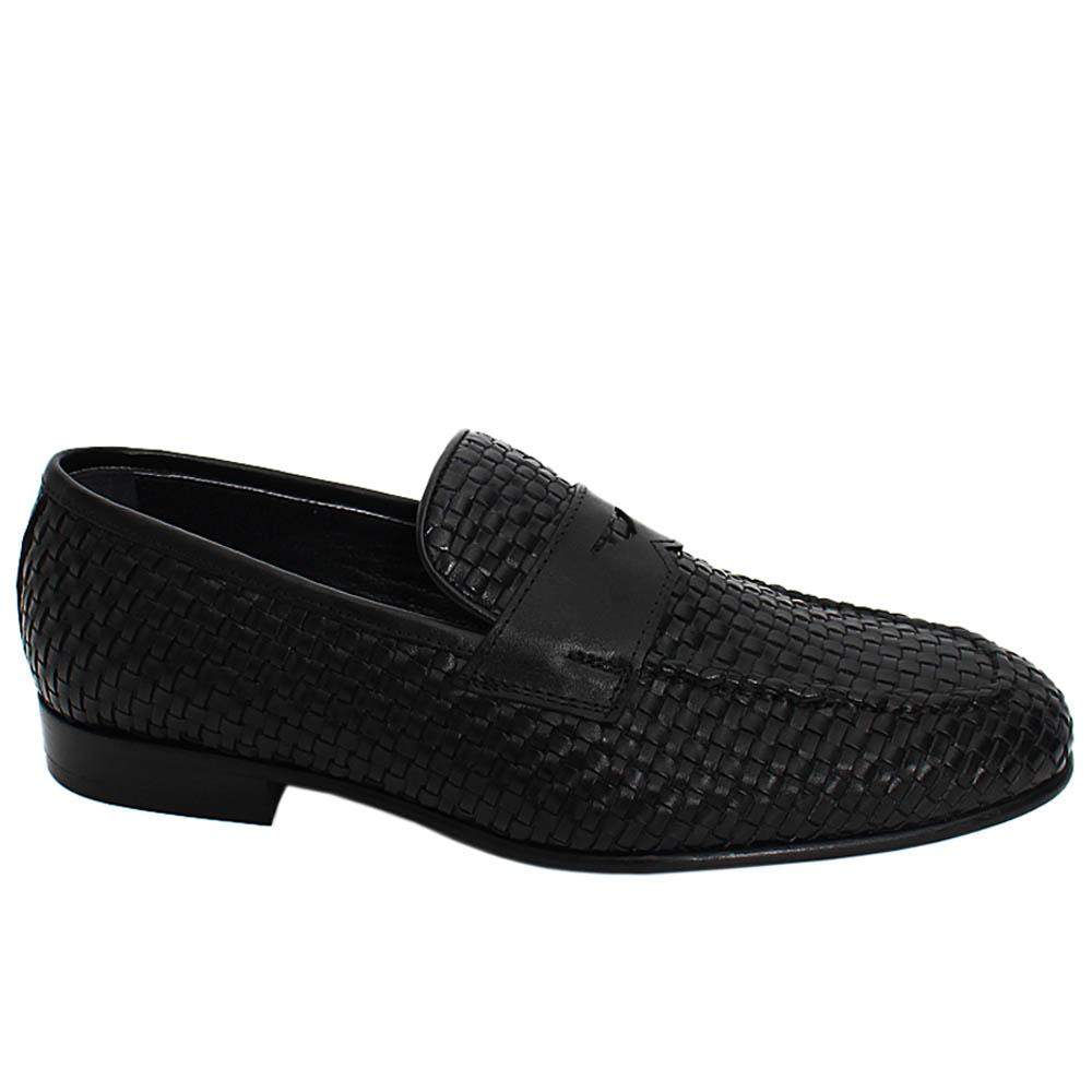 Black Alfred Hand-Woven Leather Men Penny Loafers
