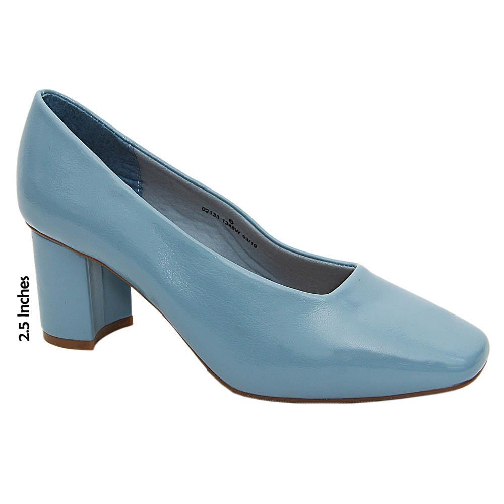 Sky Blue Alicia Curry Leather High Heel Pumps