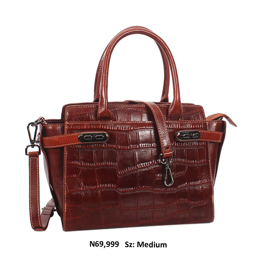 Brown Yesenia Croc Leather Tote Handbag
