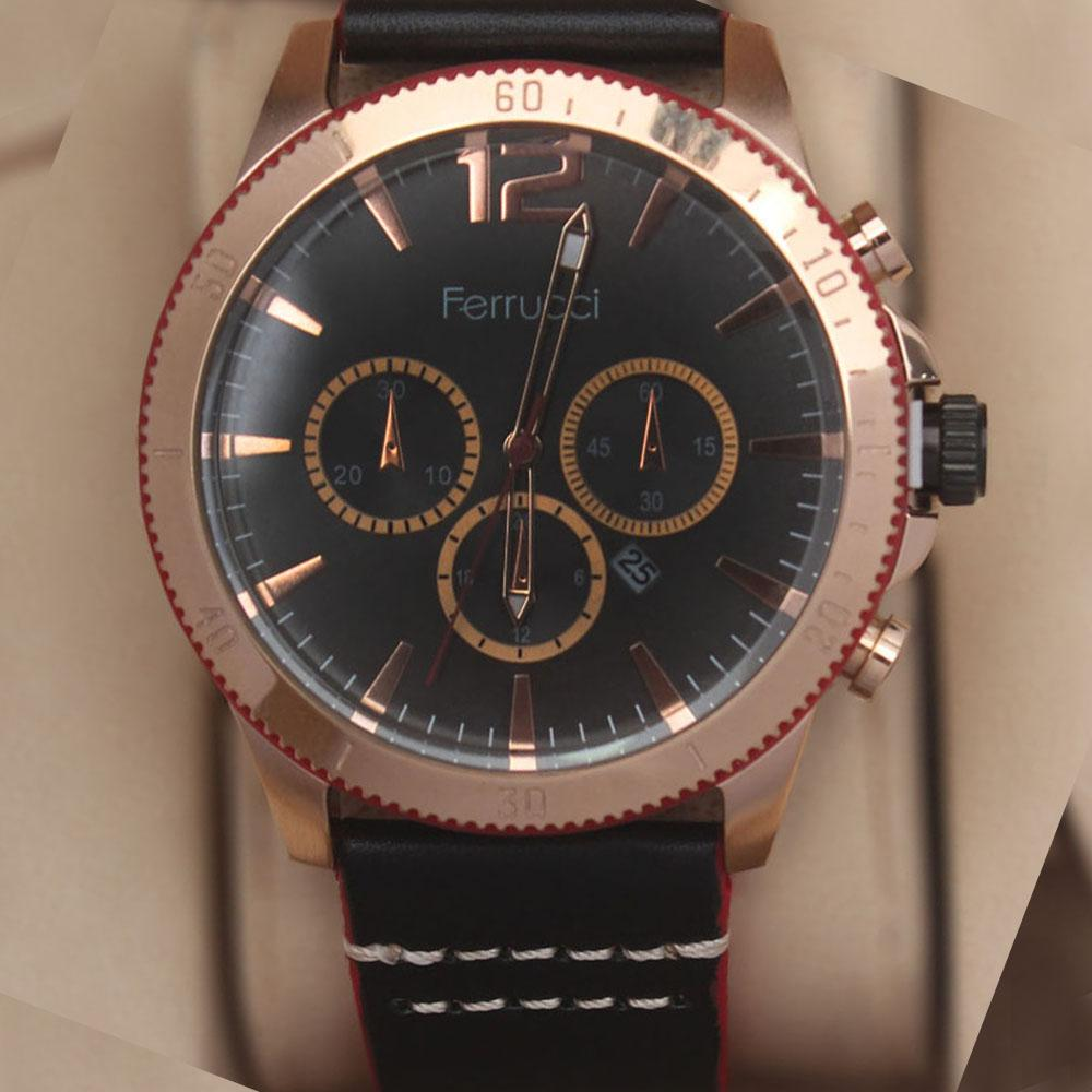 Ferruci Evlogia Black Red Leather Watch