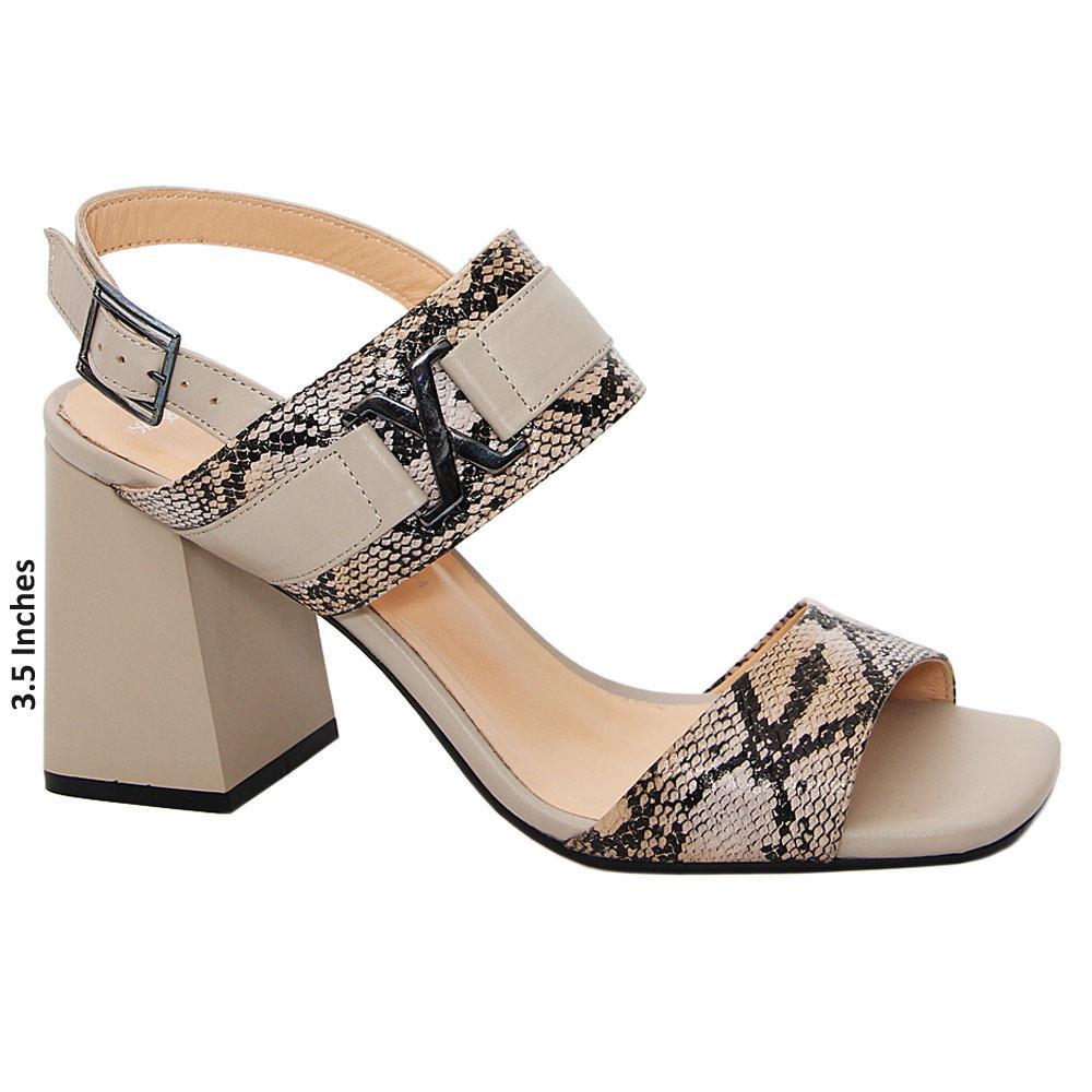 Khaki Mix Ashlyn Tuscany Leather High Heel Sandals