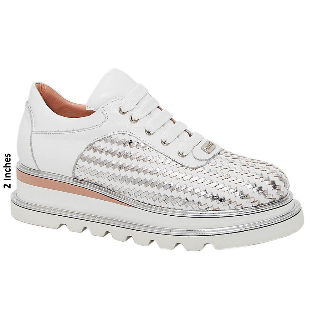 White Silver Morena Woven Tuscany Leather Ladies Sneakers
