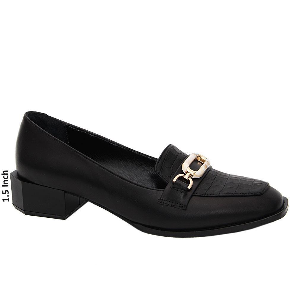 Black Aurora Tuscany Leather Low Heel Pumps