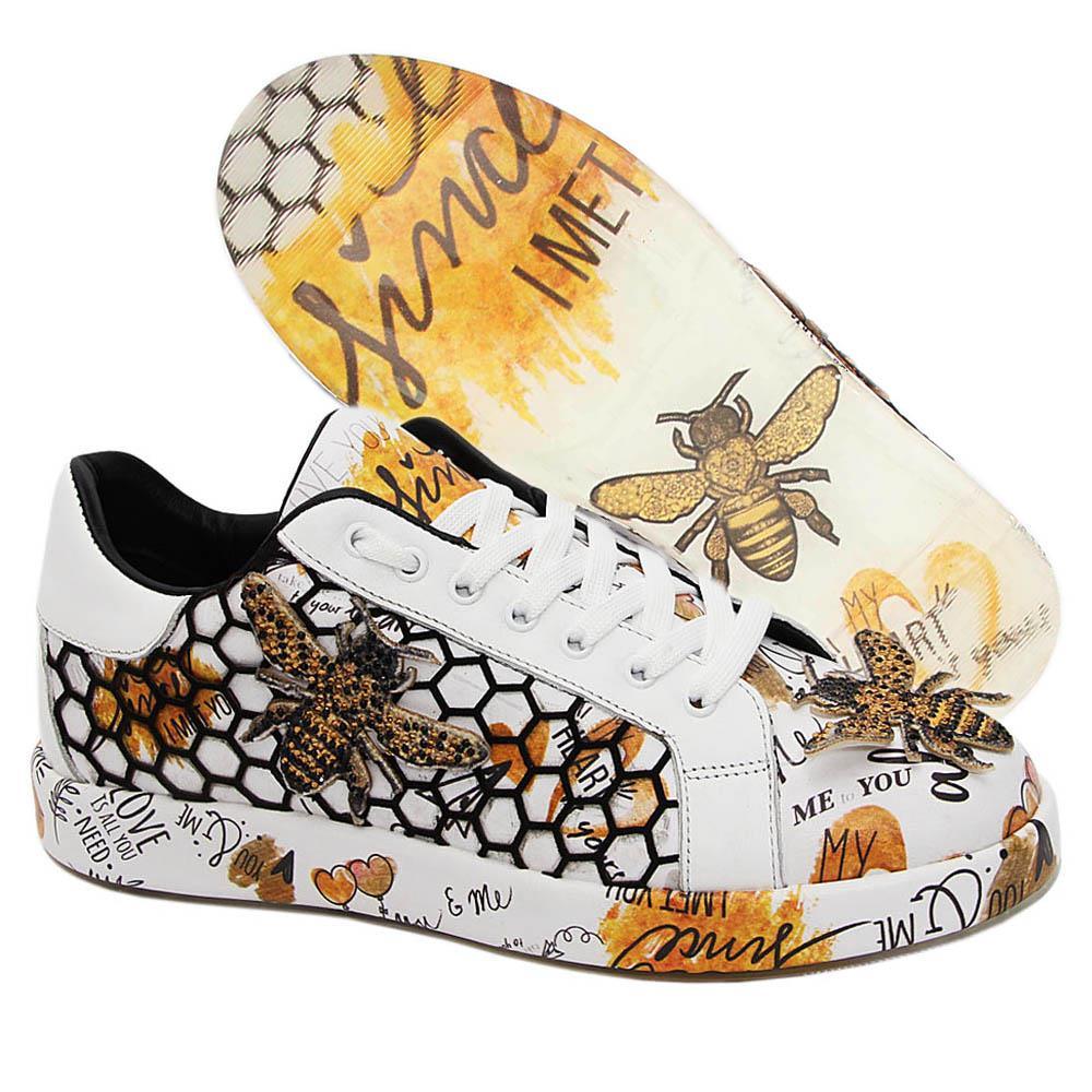 White Casey Graphic Print Italian Leather Unisex Sneakers