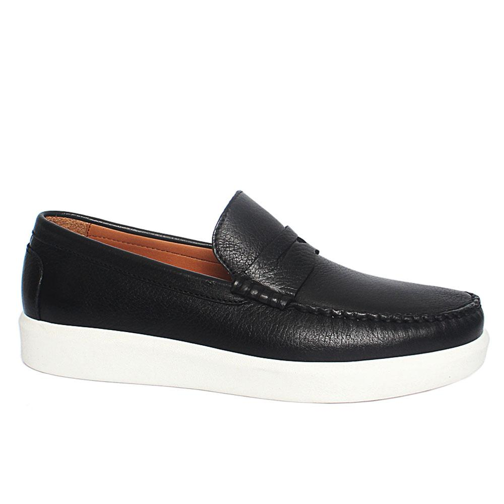 Black Lorenzo Leather Slipon Loafers