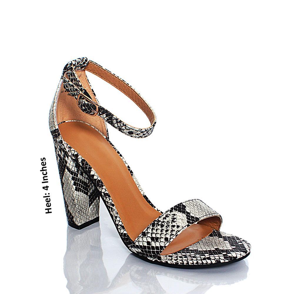 Monochrome Snake Skin BB Mania Leather High Heels