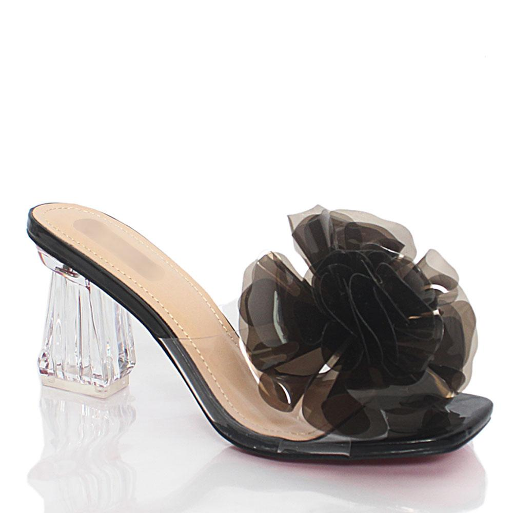 Black Crystal Glass Rubber Leather Mule