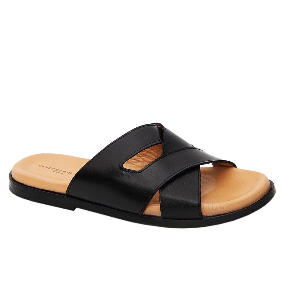 Black Romero Crossover Italian Leather Slippers