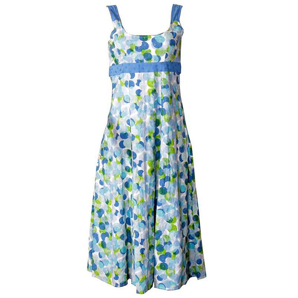 Per Una Blue-Lemon-White Dry Lace Ladies Belt Dress Sz Uk 10