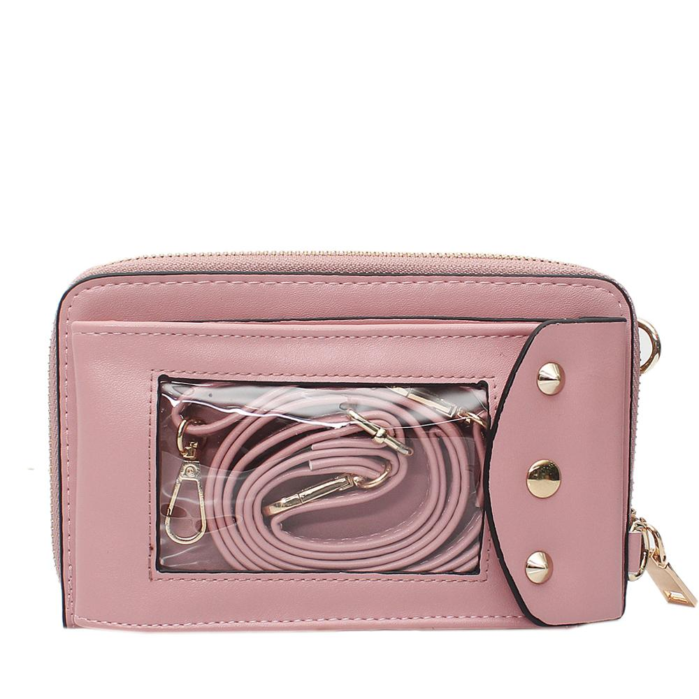 Pink Leather Ladies Wallet Wt Strap