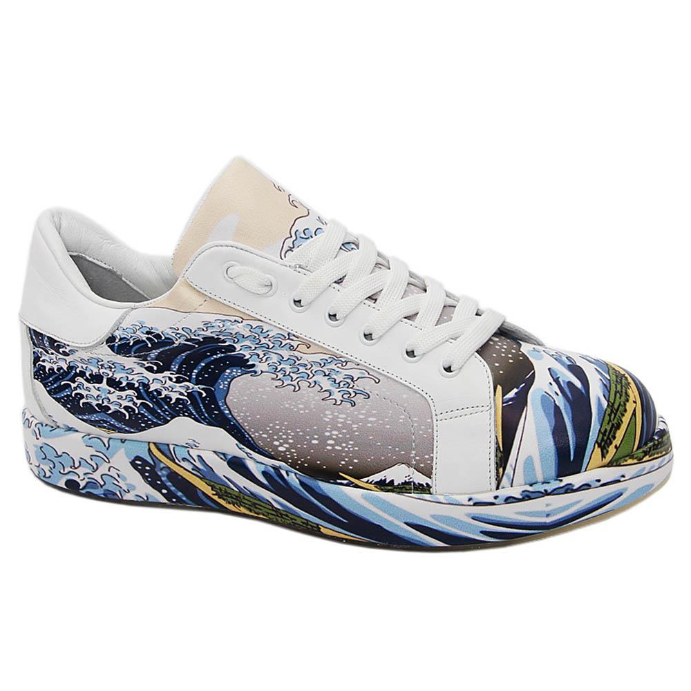White Winter Graphic Print Italian Leather Unisex Sneakers