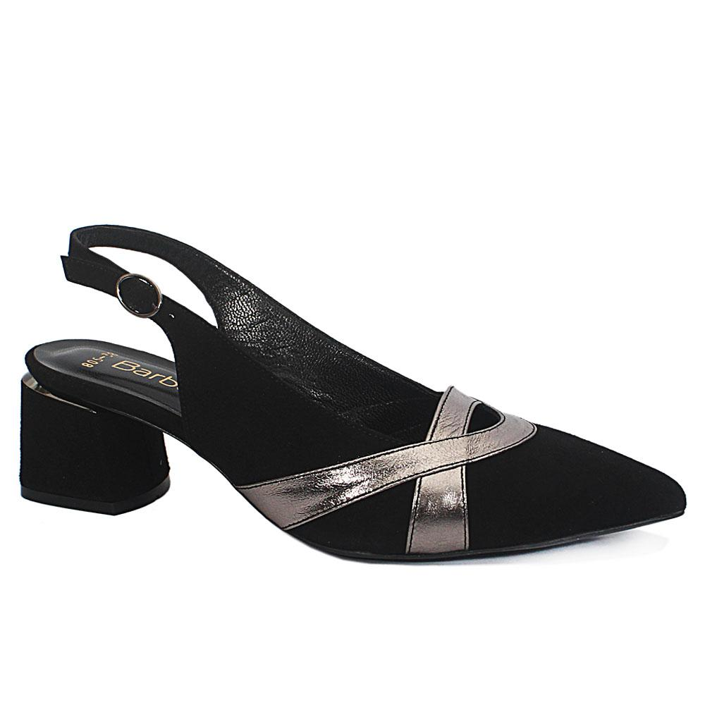 Black Impluse Suede Leather Slingback Shoes